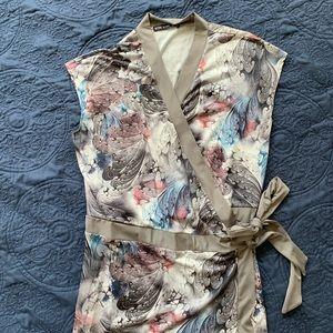 Sleeveless slinky maxi wrap dress.